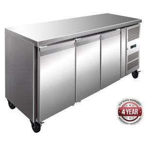 FE3100BT S/S Three Door Bench Freezer 386L