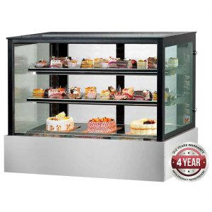 SSU90-2XB Black Trim Square Glass Cake Display 2 Shelves 900x700x1100