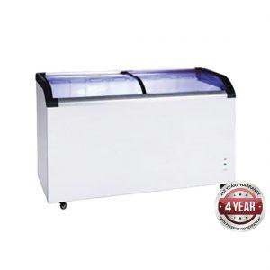Two glass sliding lids chest freezer with castors - ST545