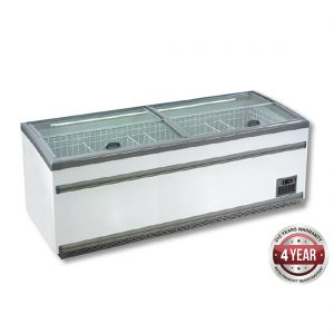 ZCD-L250S Supermarket Island Dual Temperature Freezer & Chiller with Glass Sliding Lids