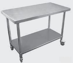 Premium Stainless Steel Mobile Workbench With Castors 700mm Deep