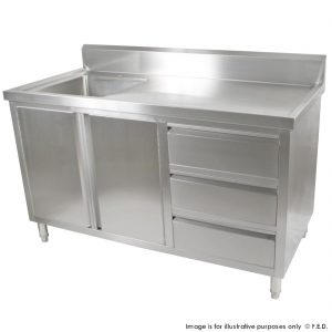 Kitchen Tidy Cabinet With Left Sink 700mm Deep