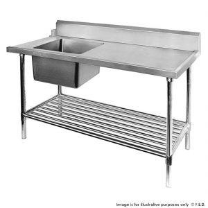 Dishwasher Left Single Sink Inlet with Pot Shelf SSBD7